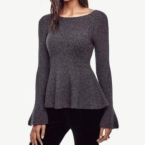 Sweaters - Ann Taylor Bell sleeve Peplum sweater grey Large